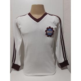 Camisa Retrô do Caxias Branca Manga Longa- Confecção em até 18 dias úteis.