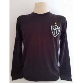 Camisa Retrô do Atlético Preta Sem patrocínio Manga longa - Confecção em até 18 dias úteis.
