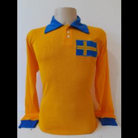 Camisa Retrô da Seleção da Suécia 1958 Manga Longa - Confecção em até 18 dias úteis.