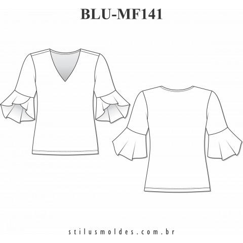 BLUSA MANGA COM BABADOS (BLU-MF141)