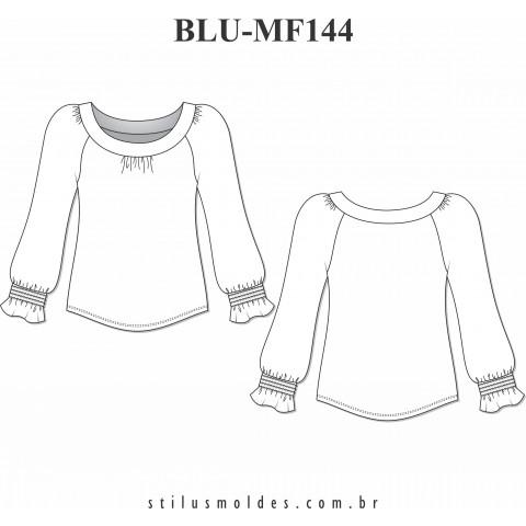 BLUSA COM LASTEX NA MANGA (BLU-MF144)