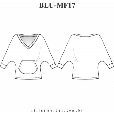 BLUSA MANGA MORCEGO COM BOLSO CANGURU (BLU-MF17)