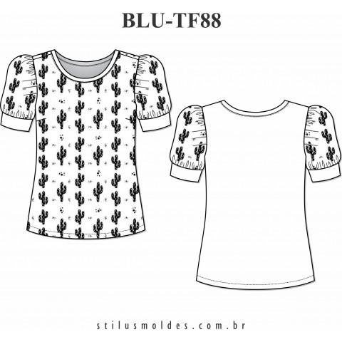BLUSA DOIS TECIDOS (BLU-TF88)