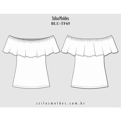 BLUSA DECOTE COM BABADO (BLU-TF65)