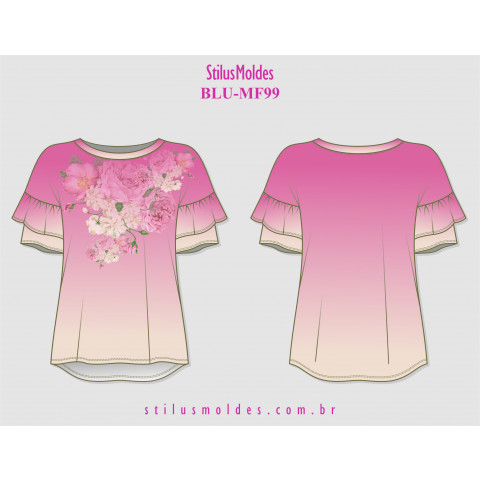 BLUSA MANGA JAPONESA COM BABADOS (BLU-MF99)