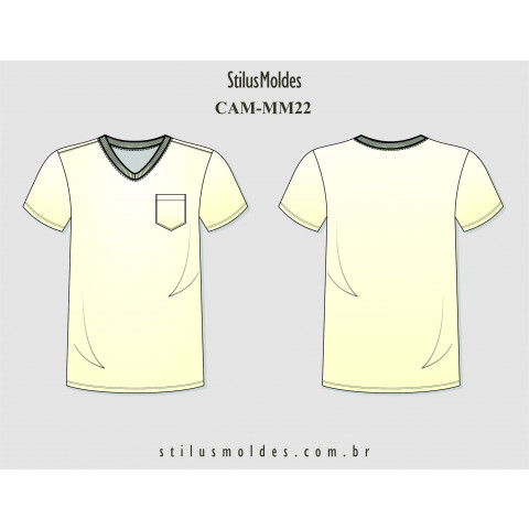 CAMISETA MASCULINA SLIM DECOTE V (CAM-MM22)