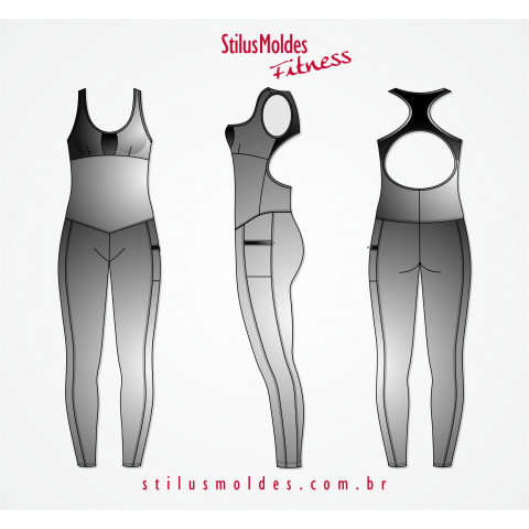MACACÃO FITNESS COM TULE (FIT-MF104)