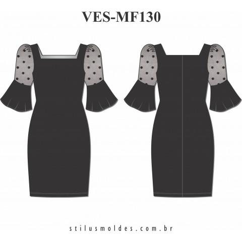 VESTIDO MANGA BUFANTE (VES-MF130)