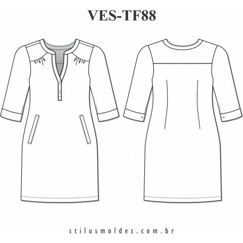 VESTIDO MANGA 3/4 (VES-TF88)