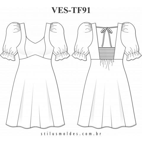 VESTIDO MANGA BUFANTE (VES-TF91)