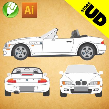 BMW Z3 1996 em Vetor EPS - Vetor - Corel / Illustrator
