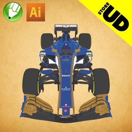 Formula 1 2017 Sauber C36 em Vetor - Corel Draw