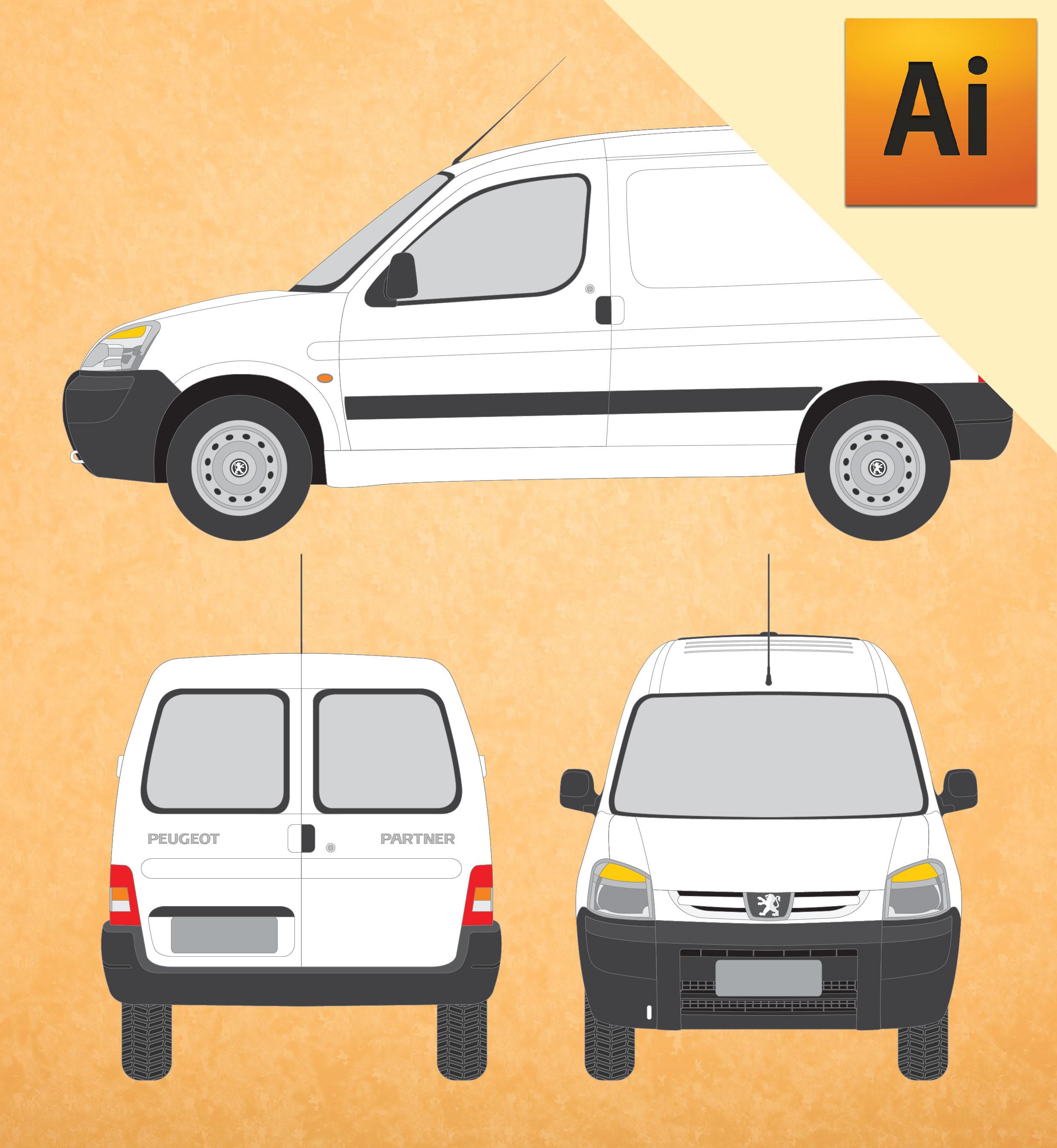 Peugeot Partner 2016 em Vetor - Illustrator