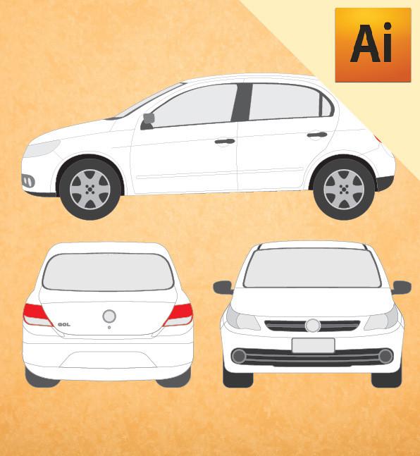 VW Gol 2008 em Vetor - Illustrator