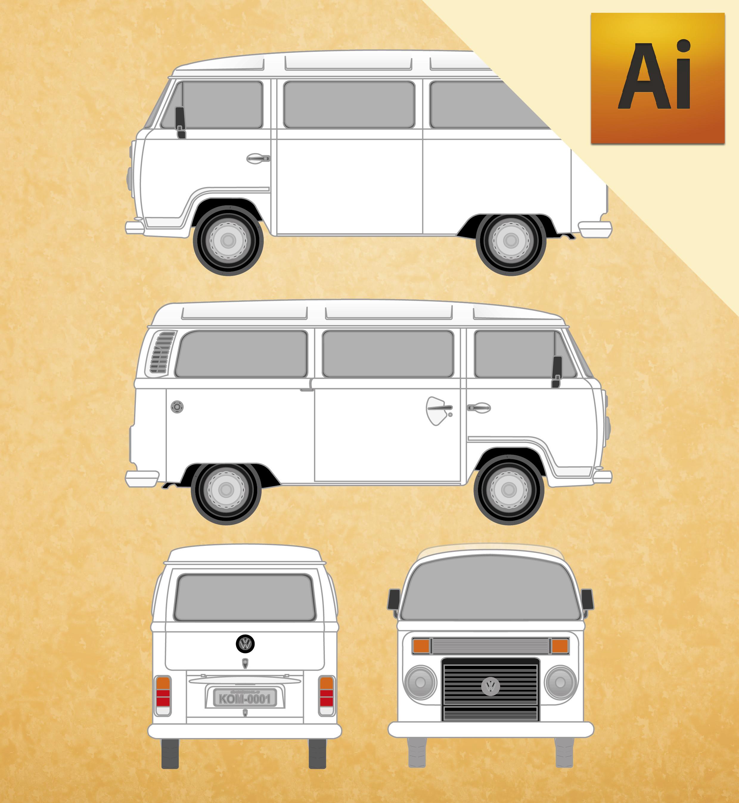 VW Kombi 2001 em Vetor - Illustrator