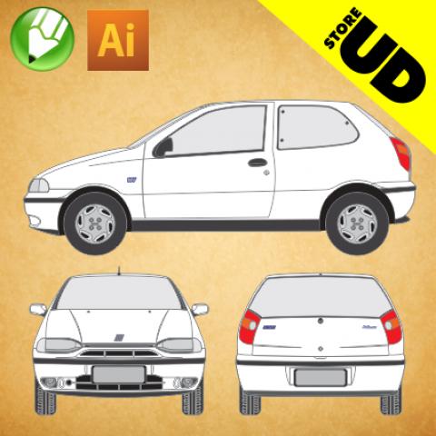 Fiat Palio 1996 (2 portas) - Vetor - Corel / Illustrator