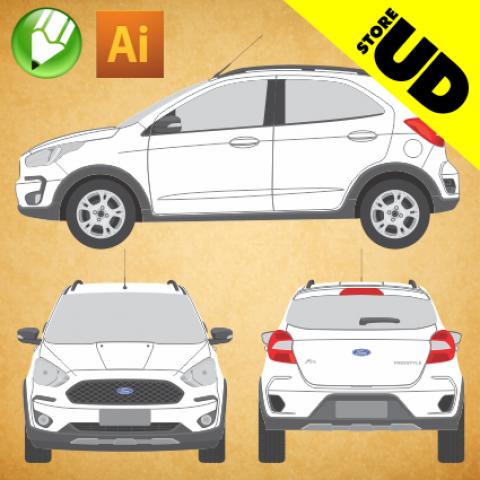 Ford KA 2020 Freestyle - Vetor - Corel / Illustrator