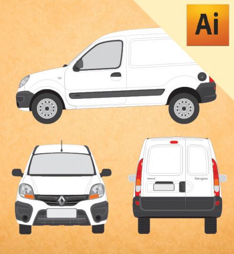 Renault Kangoo 2016 em Vetor - Illustrator