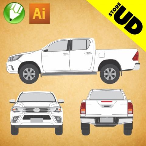Toyota Hilux 2017 (Cabine Dupla) - Vetor - Corel / Illustrator