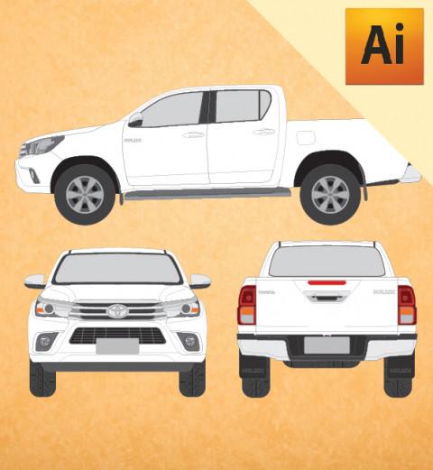 Toyota Hilux 2017 (Cabine Dupla) em Vetor - Illustrator