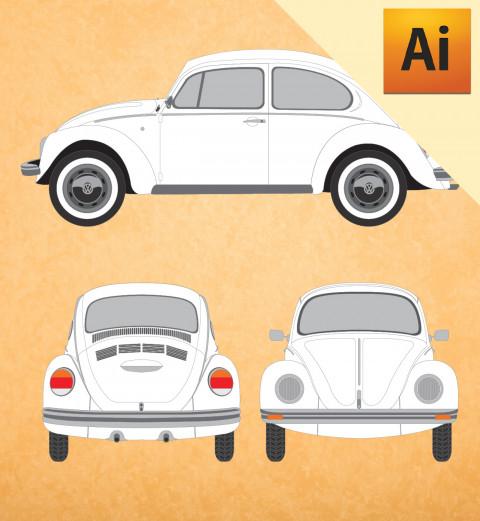 VW Fusca Clássico 1973 em Vetor - Illustrator
