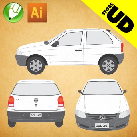 VW Gol 2007 G4 (2P) - Vetor - Corel / Illustrator