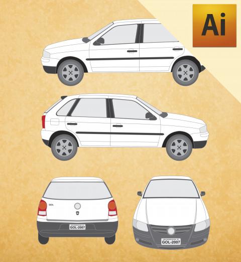 VW Gol 2007 G4 (4P) em Vetor - Illustrator
