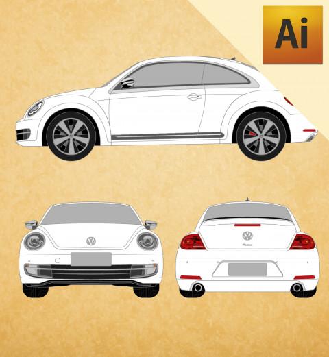 VW Novo Fusca 2015 em Vetor - Illustrator