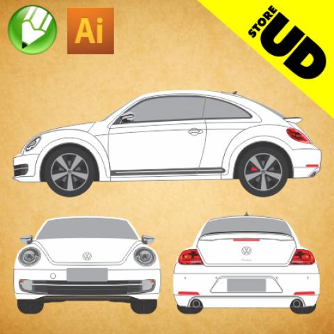 VW Novo Fusca 2015 - Vetor - Corel / Illustrator
