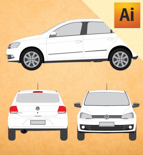 VW Novo Gol 2013 em Vetor - Illustrator