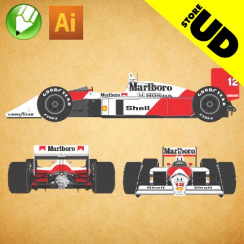 McLaren MP4/4 F1 1988 - Vetor - Corel / Illustrator