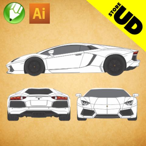Lamborghini Aventador LP700-4 - Vetor - Corel / Illustrator