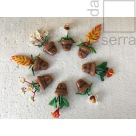 Imã de Geladeria em Biscuit - Flora de Terê - Jogo com 4