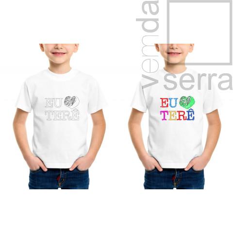 "Camiseta Infantil para Colorir ""Eu Amo Terê"""
