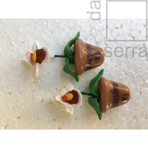 Imã de Geladeria em Biscuit - Flora de Terê - Orquídea