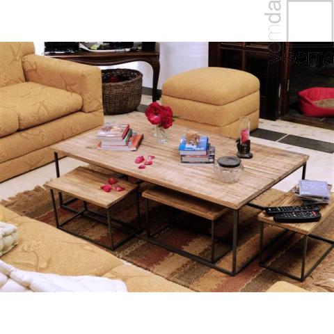 JOGO SOBERBO - 1 mesa de centro e 4 banquetas multiuso