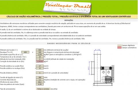 Calculo de pressão estática e total do ventilador, pressão dinâmica e potência absorvida
