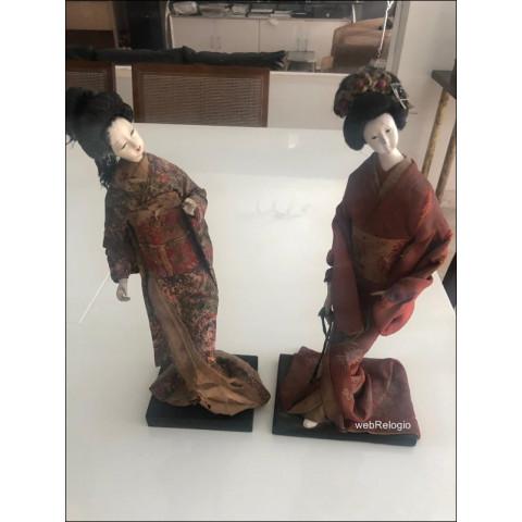 Bonecas (par) Japonesas Gueixas Kimono Antigas Vintage Imigração. REF.00867