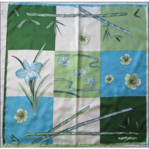 Lenço (escarpe) Patek Philippe Verde, Azul, Branco Bambu. REF.00919