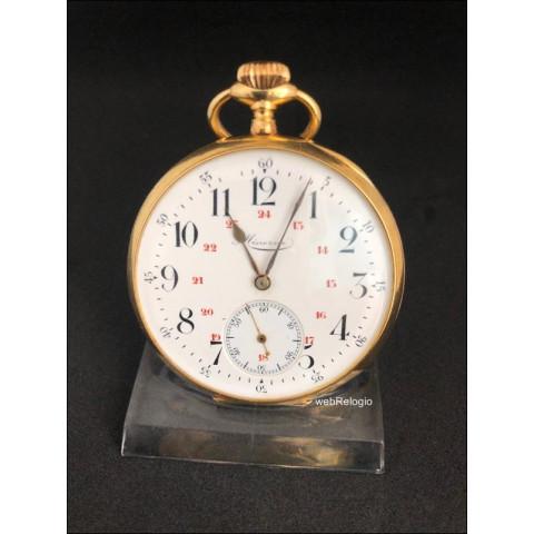 Relógio Bolso Montblanc Minerva Precision Ouro Pocket Gold 18k. REF.00880